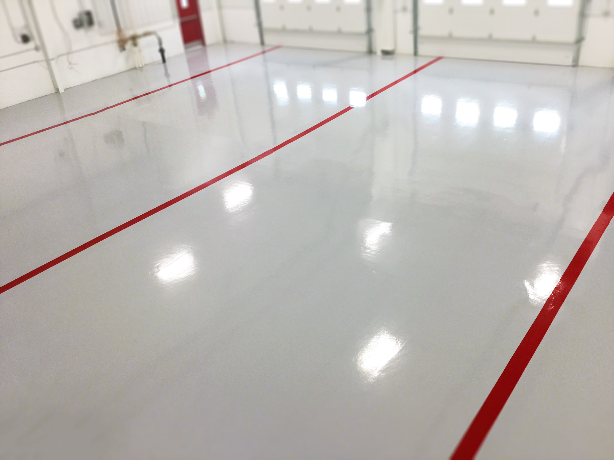 coated white with red stripes flooring
